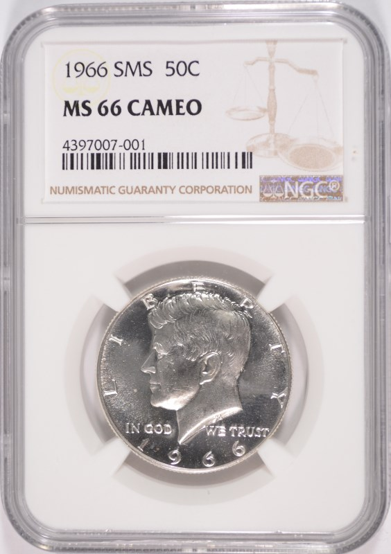 1966 SMS KENNEDY HALF DOLLAR, NGC MS-66 CAMEO