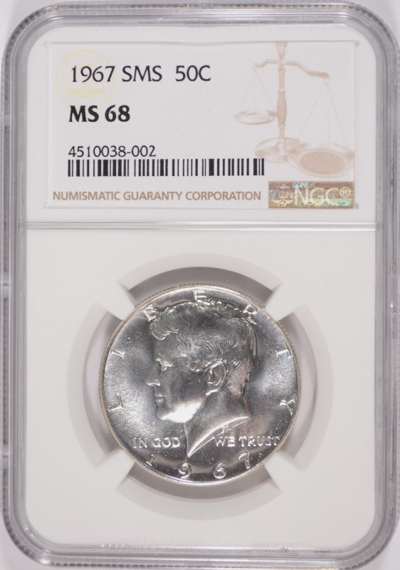 1967 SMS KENNEDY HALF DOLLAR, NGC MS-68
