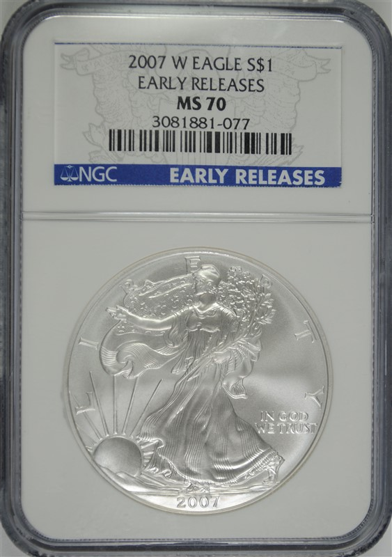 2007-W AMERICAN SILVER EAGLE, NGC MS-70  EARLY RELEASES
