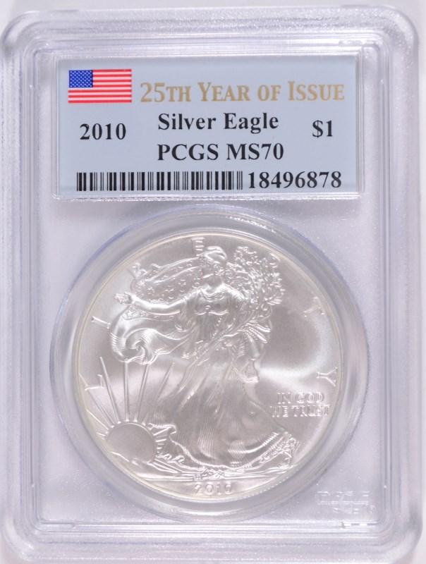 2010 AMERICAN SILVER EAGLE, PCGS MS-70