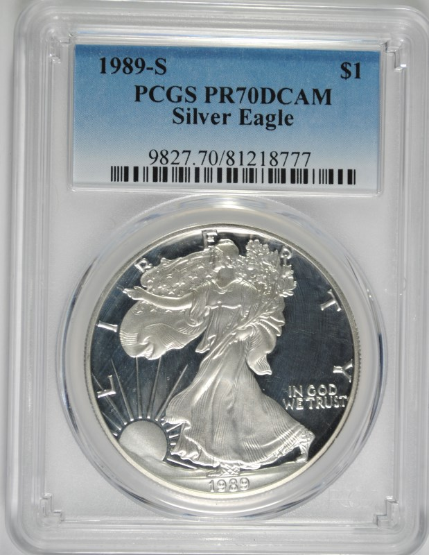 1989-S PROOF AMERICAN SILVER EAGLE, PCGS PR-70 DCAM!