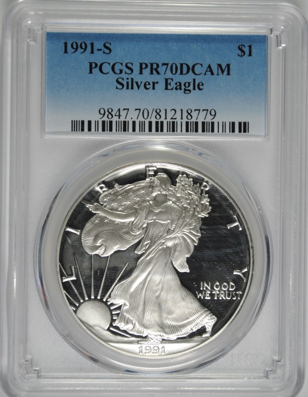 1991-S PROOF AMERICAN SILVER EAGLE, PCGS PR-70 DCAM!