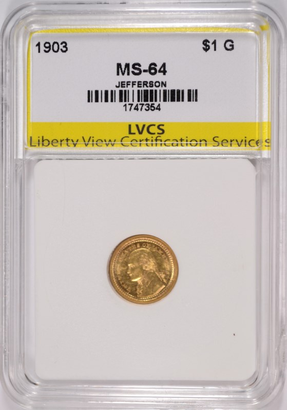 1903 $1.00 JEFFERSON GOLD, LVCS CH/GEM BU