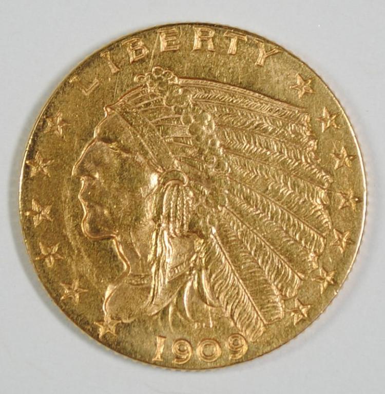 1909 $2.5 GOLD INDIAN BU