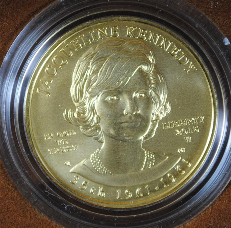 JACKIE KENNEDY SPOUSE UNCIRCULATED .999 GOLD COIN, ORIG BOX & COA