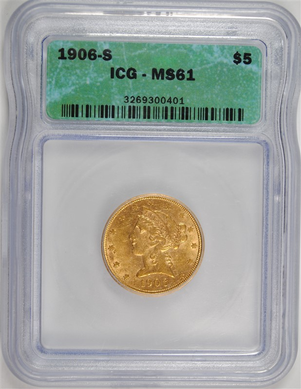 1906-S $5.00 GOLD LIBERTY HEAD, ICG MS-61