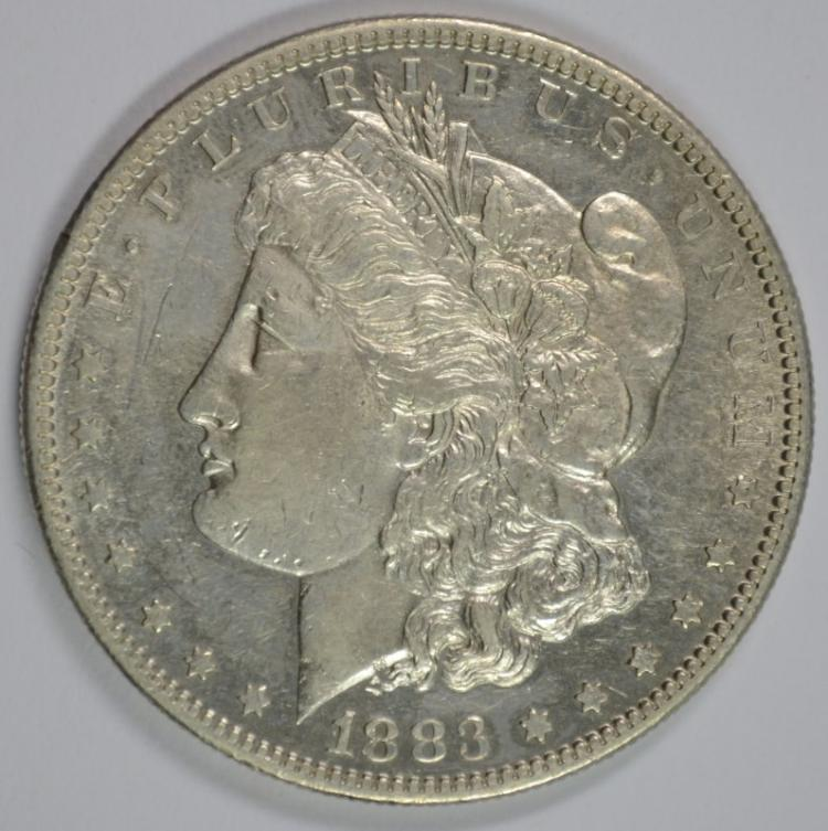 1883-S MORGAN SILVER DOLLAR AU++ / BU