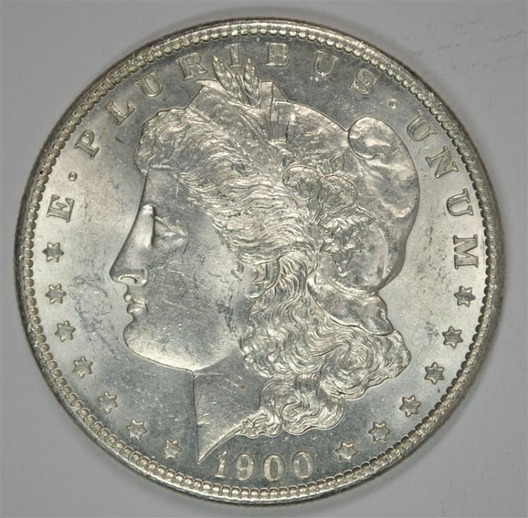 1900-S MORGAN SILVER DOLLAR, CHOICE BU