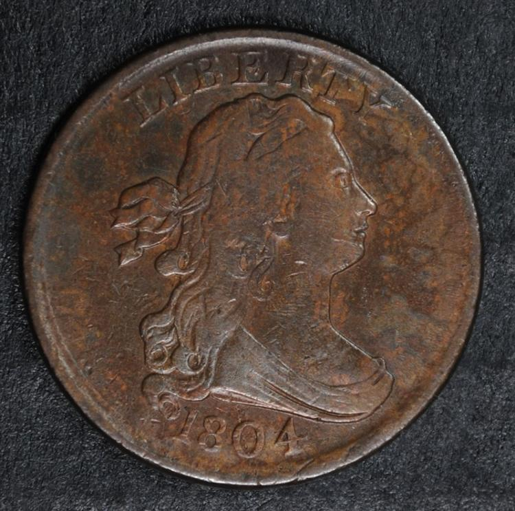 1804 DRAPED BUST HALF CENT, XF