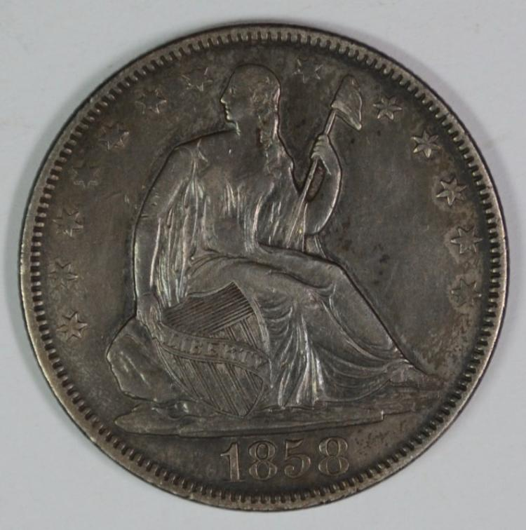 1858 SEATED LIBERTY HALF DOLLAR AU NICELY TONED