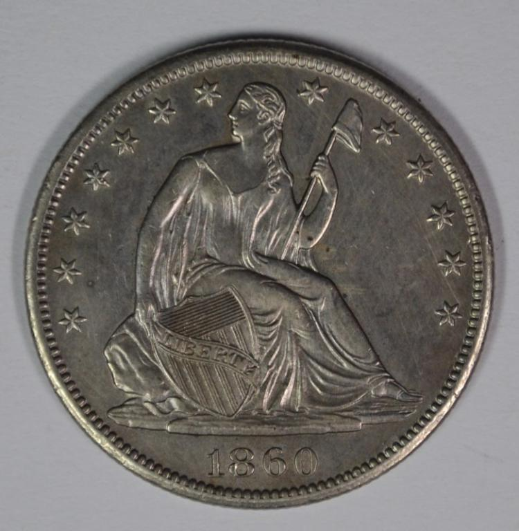 1860-S SEATED LIBERTY HALF AU/BU