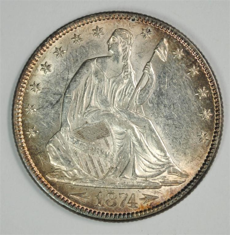1874 SEATED LIBERTY HALF BU
