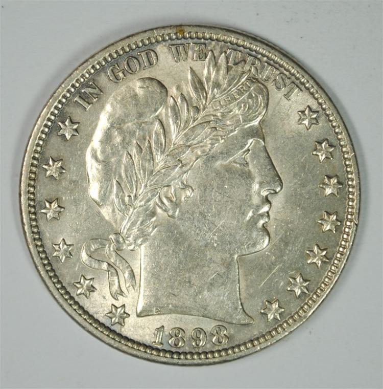 1898 BARBER HALF DOLLAR, CHOICE BU