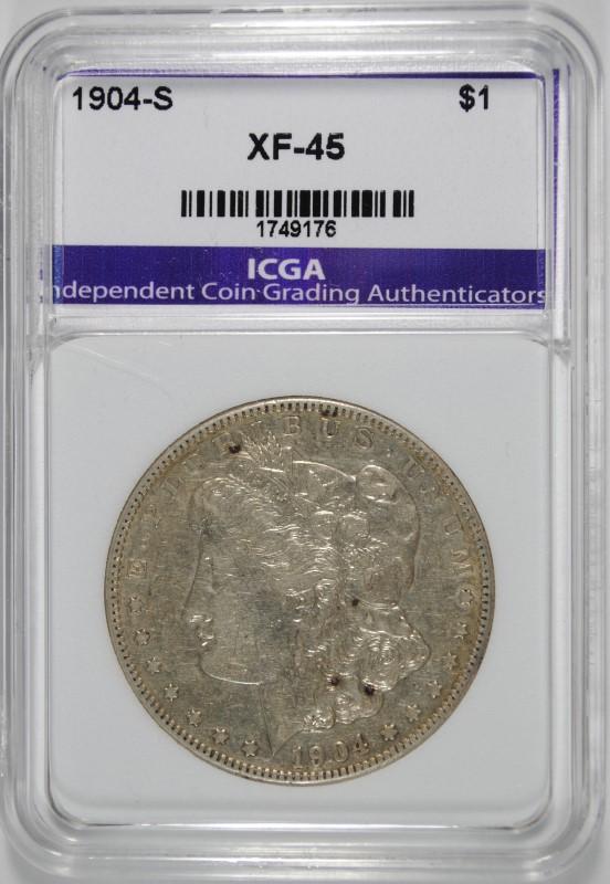 1904-S MORGAN SILVER DOLLAR,ICGA  XF/AU
