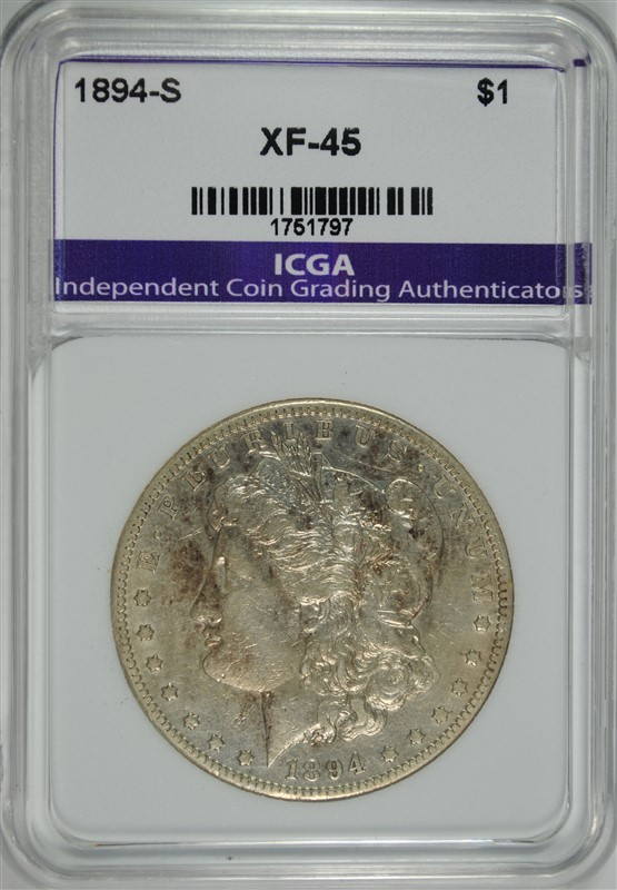 1894-S MORGAN SILVER DOLLAR ICGA XF
