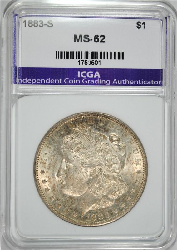 1883-S MORGAN SILVER DOLLAR, ICGA CHOICE BU