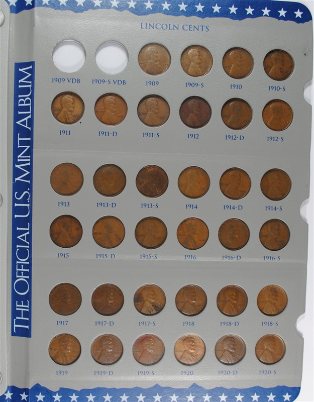 PARTIAL LINCOLN CENT SET 1909-1973, MISSING 1909-VDB, 1909-S-VDB, 1922 NO D,