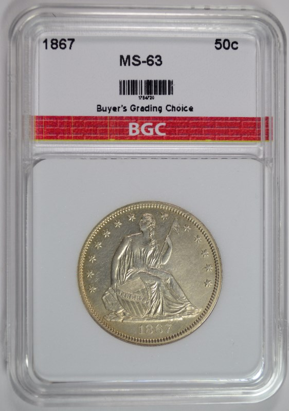 1867 SEATED HALF DOLLAR, BGC CHOICE BU