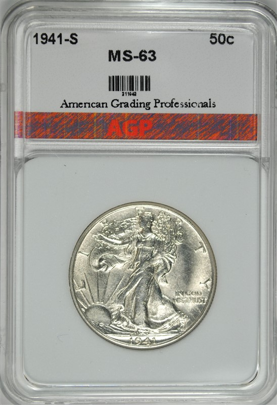 1941-S WALKING LIBERTY HALF DOLLAR, AGP CHOICE BU