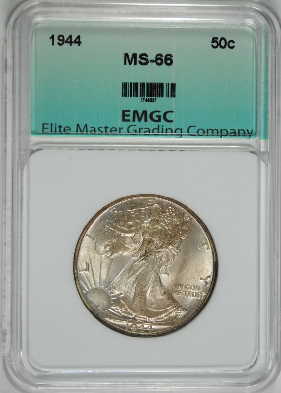 1944 WALKING LIBERTY HALF DOLLAR, EMGC SUPERB GEM BU