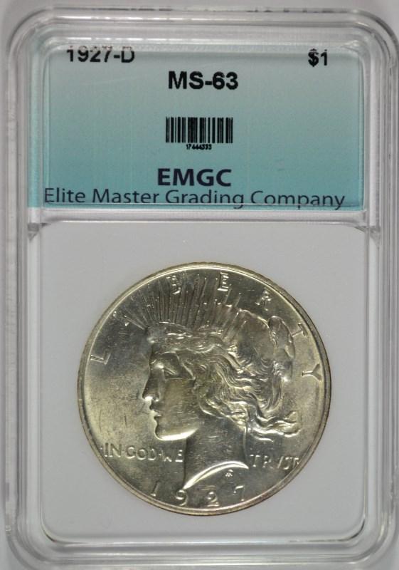 1927-D PEACE SILVER DOLLAR, EMGC CHOICE BU