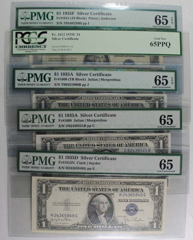 5 1935 SILVER CERTIFICATES ALL PMG OR PCGS GEM 65