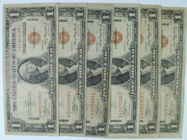 6 1935 HAWAII SILVER CERTIFICATES