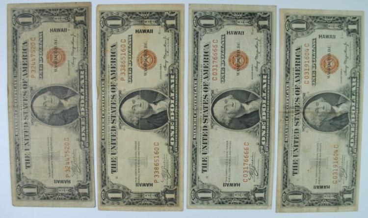 4 1935 HAWAII SILVER CERTIFICATES