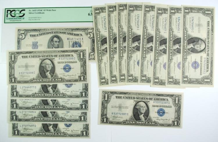 SILVER CERTIFICATE LOT 15 PIECES