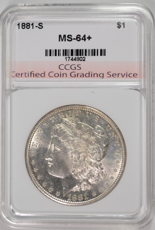 1881-S MORGAN SILVER DOLLAR,  CCGS CHOICE+/GEM BU