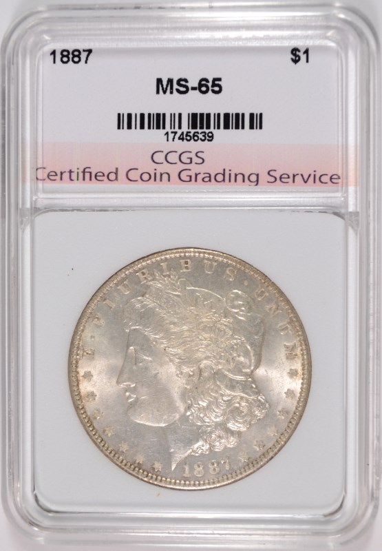 1887 MORGAN SILVER DOLLAR, CCGS GEM BU