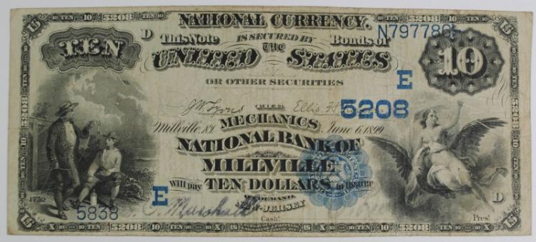 1882 $10 NATIONAL CURRENCY, MILLVILLE, NEW JERSEY - DATED BACK - F/VF RARE!