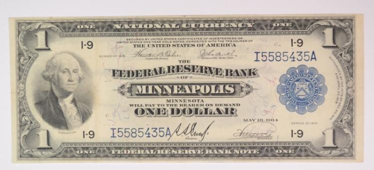 1918 $1 NATIONAL CURRENCY - FRB MINNEAPOLIS, MN - AU/UNC