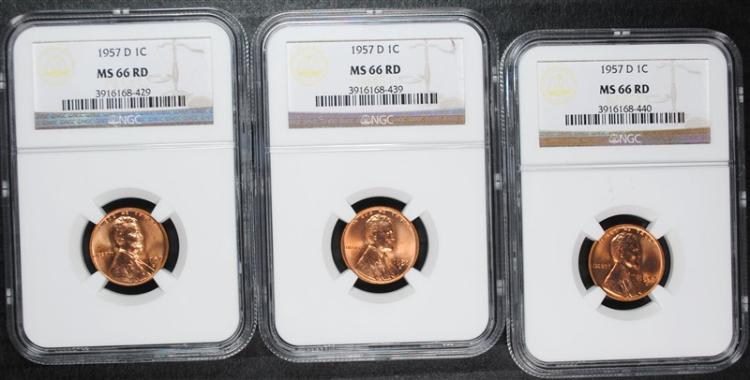( 3 ) 1957-D LINCOLN WHEAT CENTS NGC MS-66 RED GEMS