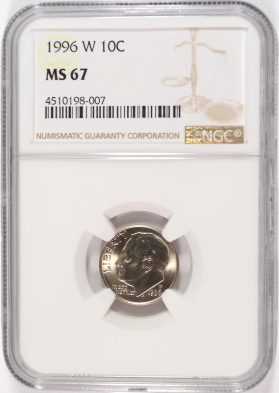 1996-W ROOSEVELT DIME, NGC MS-67 KEY DATE
