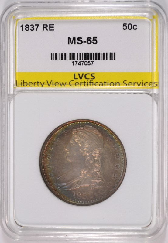 1837 REEDED EDGE BUST HALF DOLLAR, LVCS GEM BU, PRETTY BULLSEYE TONING