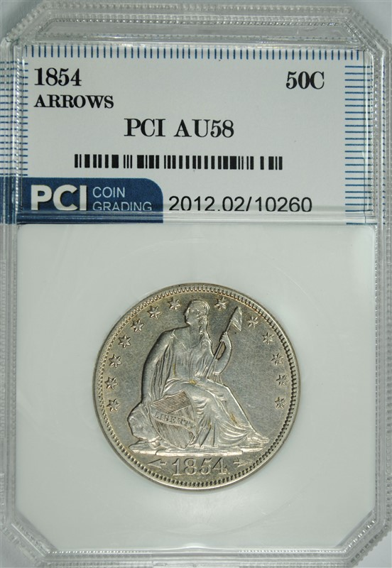 1854 ARROWS SEATED HALF DOLLAR, PCI AU/UNC NICE TYPE COIN