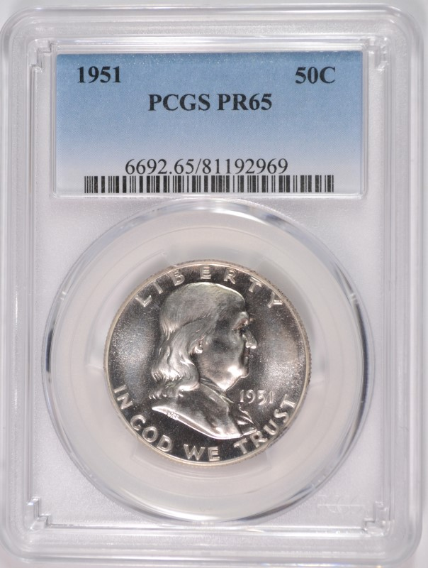 1951 FRANKLIN HALF DOLLAR, PCGS PROOF-65 GEM