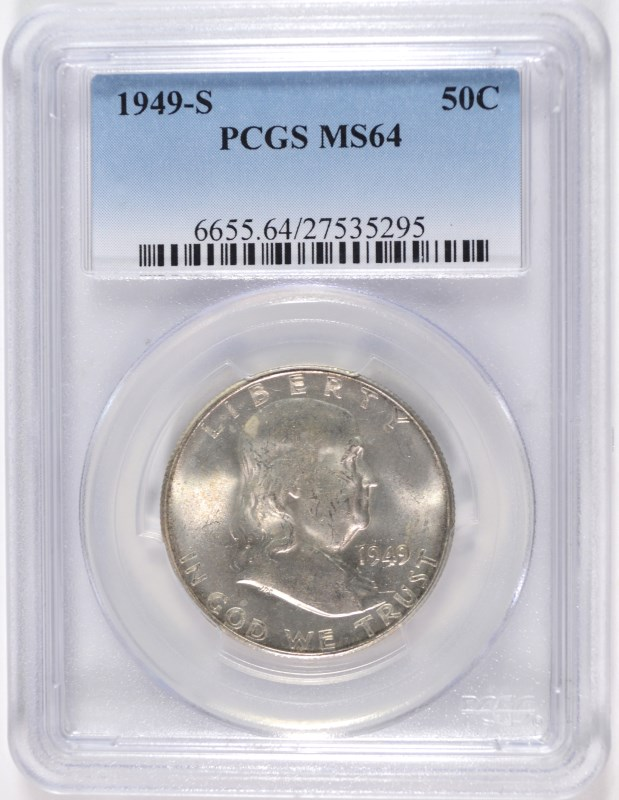 1949-S FRANKLIN HALF DOLLAR, PCGS MS-64 BETTER DATE