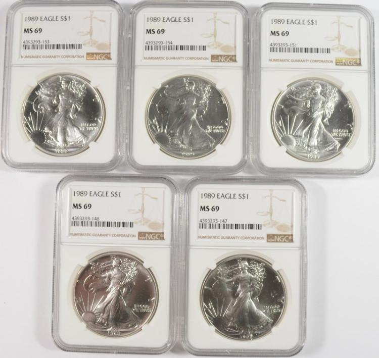 ( 5 ) 1989 AMERICAN SILVER EAGLES, NGC MS-69