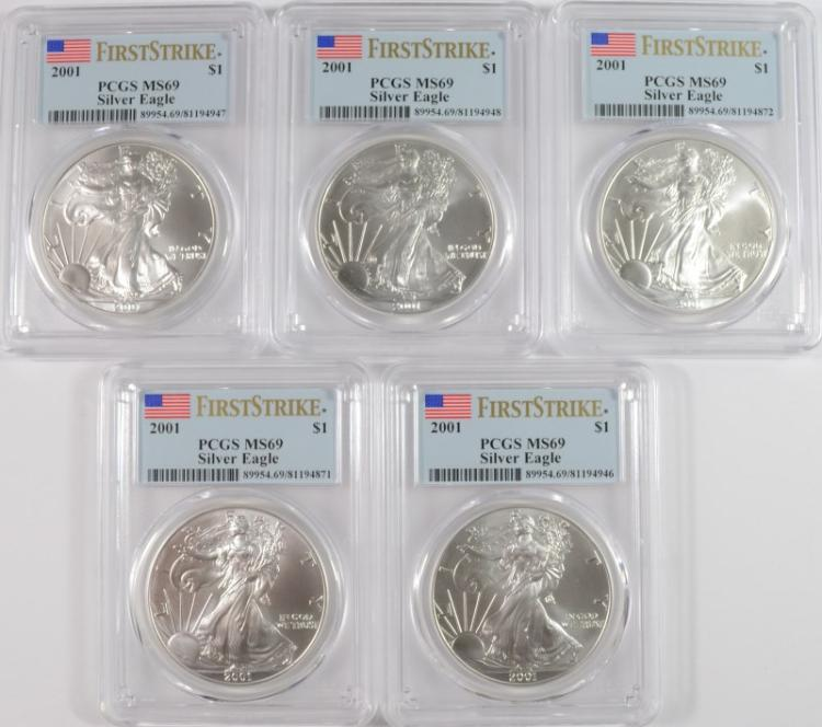 ( 5 ) 2001 AMERICAN SILVER EAGLES, PCGS MS-69 FIRST STRIKE FLAG LABEL