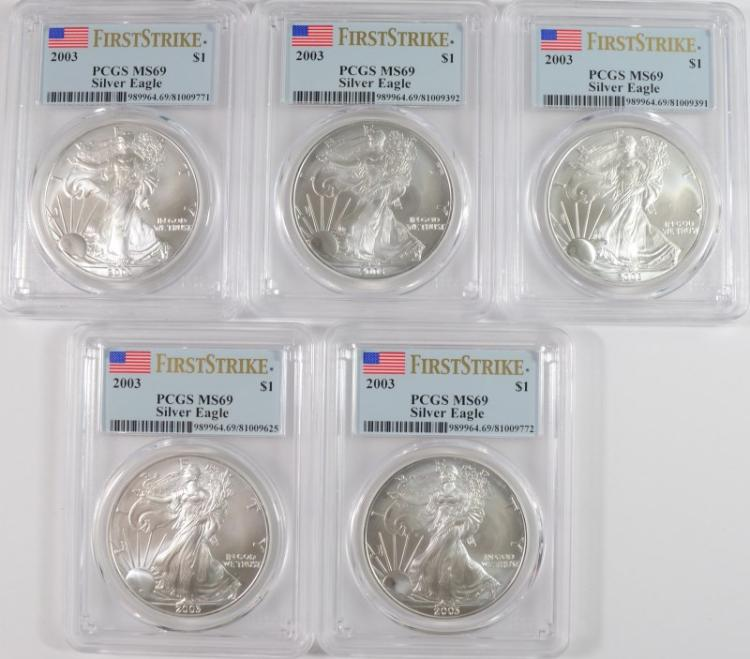 ( 5 ) 2003 AMERICAN SILVER EAGLES, PCGS MS-69 FIRST STRIKE  PRICE GUIDE=$65 EACH