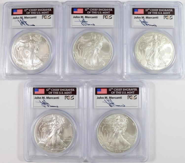 ( 5 ) 2013 AMERICAN SILVER EAGLES PCGS MS-69 FIRST STRIKE MERCANTI SIGNATURE