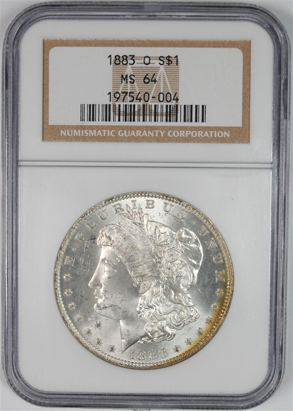 1883-O MORGAN SILVER DOLLAR, NGC MS-64