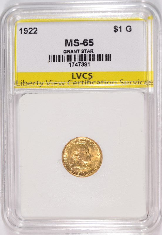1922 GRANT WITH STAR $1.00 GOLD COMMEMORATIVE, LVCS GEM BU