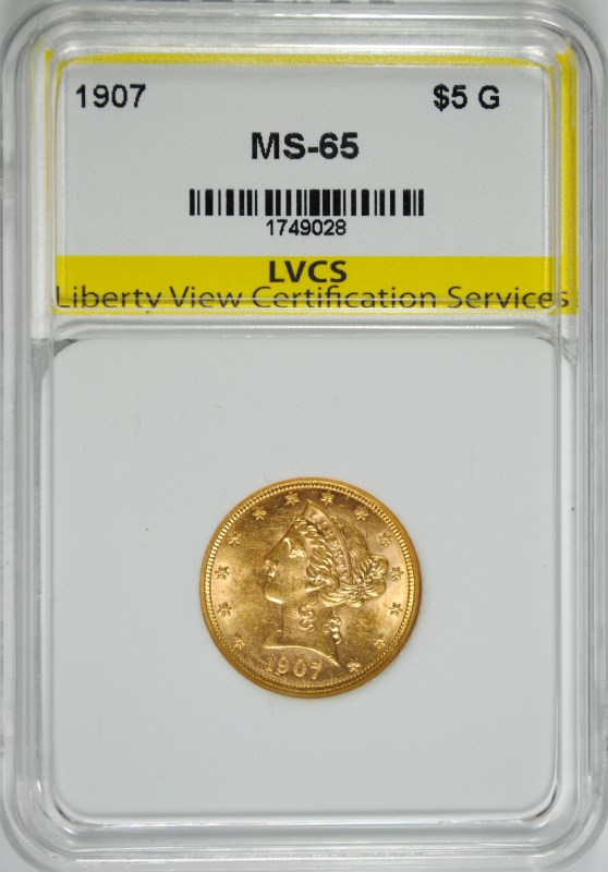1907 $5 GOLD LIBERTY LVCS GEM UNC