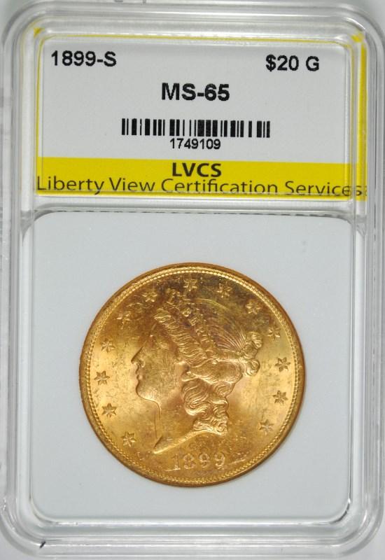 1899-S $20 GOLD LIBERTY LVCS GEM UNC