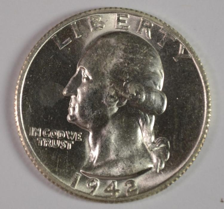 1942-S WASHINGTON QUARTER, CHOICE BU  BETTER DATE
