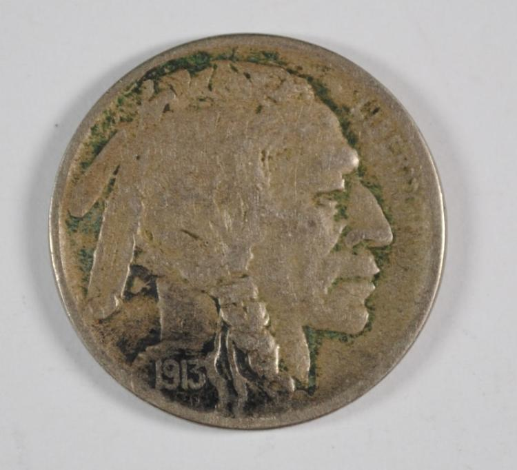 1913-D TYPE 2 BUFFALO NICKEL, VF   KEY DATE