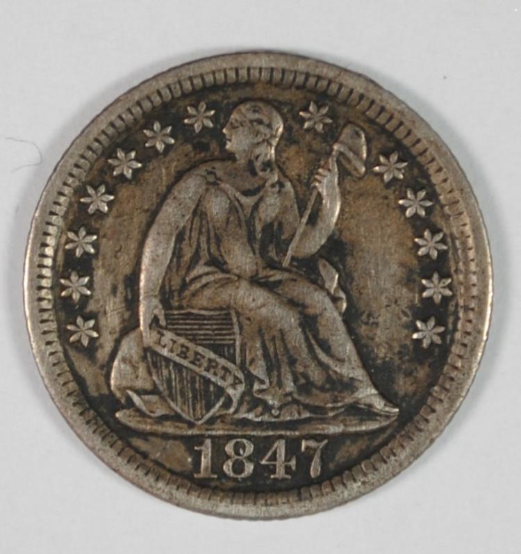 1847 SEATED HALF DIME, AU